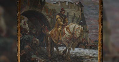 The historic painting featuring Ivan the Terrible