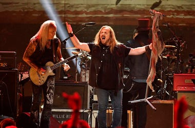 Members of Lynyrd Skynyrd perform during the Merle Haggard Tribute concert