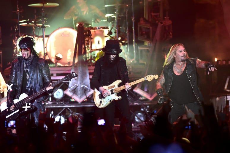 Motley Crue performing at Wembley Arena, London.