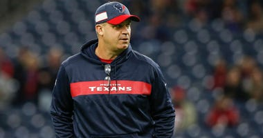 Head coach Bill O'Brien of the Houston Texans watches warmups before the game against the Jacksonville Jaguars at NRG Stadium on December 30, 2018 in Houston, Texas.