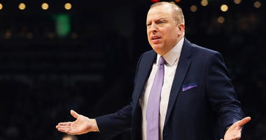 Tom Thibodeau of the Minnesota Timberwolves complains about a call during the first quarter against the Boston Celtics at TD Garden on January 02, 2019 in Boston, Massachusetts.