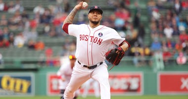 Hector Velázquez #42 of the Boston Red Sox pitches during the game between the Baltimore Orioles and the Boston Red Sox at Fenway Park on Monday, April 15, 2019 in Boston, Massachusetts.