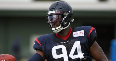 Houston Texans defensive end Charles Omenihu (94) participates in drills during the Houston Texans Training Camp at the Houston Methodist Training Center on August 3, 2019 in Houston, Texas.