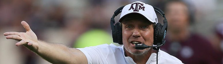 Head coach Jimbo Fisher of the Texas A&M Aggies argues with officials during the first quarter against the Auburn Tigers at Kyle Field on September 21, 2019 in College Station, Texas.
