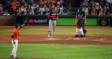 uan Soto #22 of the Washington Nationals takes a ball in the seventh inning of Game 7 of the 2019 World Series between the Washington Nationals and the Houston Astros at Minute Maid Park on Wednesday, October 30, 2019 in Houston, Texas.