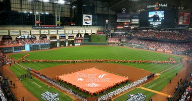 A general view as the teams are introduced prior to Game One of the 2019 World Series between the Houston Astros and the Washington Nationals at Minute Maid Park on October 22, 2019 in Houston, Texas.