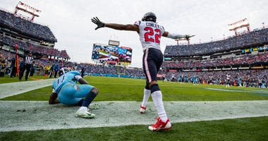 Gareon Conley #22 of the Houston Texans celebrates breaking up a pass in the end zone intended for A.J. Brown #11 of the Tennessee Titans during the fourth quarter at Nissan Stadium on December 15, 2019 in Nashville, Tennessee. Houston defeats Tennessee.