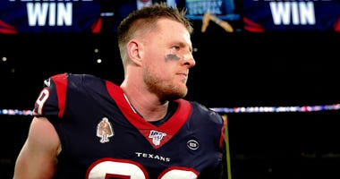 J.J. Watt #99 of the Houston Texans walks off the field following his teams 22-19 overtime win against the Buffalo Bills in the AFC Wild Card Playoff game at NRG Stadium on January 04, 2020 in Houston, Texas.