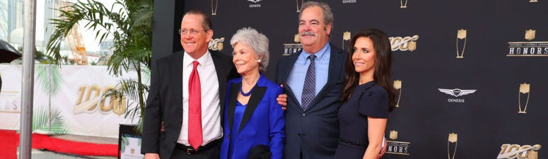 Houston Texans Janice and Cal McNair and family pose on the Red Carpet prior to the NFL Honors on February 1, 2020 at the Adrienne Arsht Center in Miami, FL.