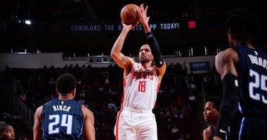 Thabo Sefolosha #18 of the Houston Rockets shoots the ball during a game against the Orlando Magic on March 8, 2020 at the Toyota Center in Houston, Texas.