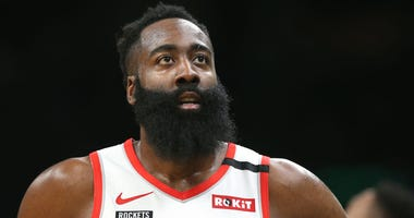 James Harden #13 of the Houston Rockets looks on during the first half of the game against the Boston Celtics at TD Garden on February 29, 2020 in Boston, Massachusetts.