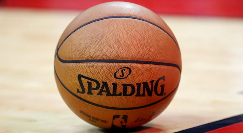 A Spalding basketball is seen on the court in the first half of the game between the Houston Rockets and the Minnesota Timberwolves at Toyota Center on March 10, 2020 in Houston, Texas.