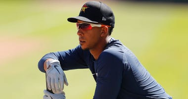 Michael Brantley #23 of the Houston Astros looks on prior to a Grapefruit League spring training game against the Atlanta Braves at CoolToday Park on March 10, 2020 in North Port, Florida.