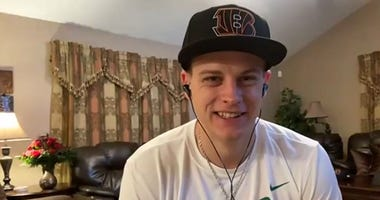 In this still image from video provided by the Cincinnati Bengals, quarterback Joe Burrow speaks via teleconference after being selected during the first round of the 2020 NFL Draft on April 23, 2020.