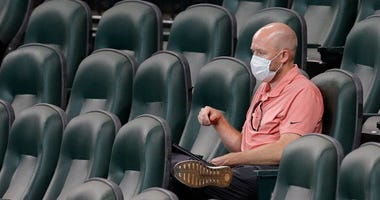 General manager James Click watches practice during the fourth day of Summer Workouts at Minute Maid Park on July 07, 2020 in Houston, Texas.
