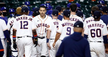 he benches emptied between the Los Angeles Dodgers and Houston Astros in the sixth inning after Joe Kelly #17 of the Los Angeles Dodgers threw several high inside pitches to Carlos Correa #1 of the Houston Astros, Alex Bregman #2 and Yuli Gurriel #10.