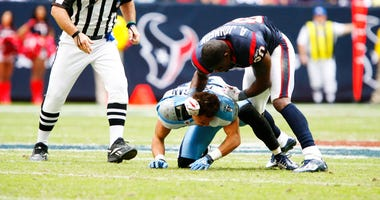 Houston Texans wide receiver Andre Johnson #80 and Tennessee Titans cornerback Cortland Finnegan #31 get into a fight during the game between the Tennessee Titans and the Houston Texans at Reliant Stadium in Houston, Texas. The Texans defeated the Titans.