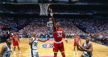 Hakeem Olajuwon #34 of the Houston Rockets shoots during Game Two of the Conference Finals of the 1995 NBA Playoffs played on May 24, 1995 at the Alamo Dome in San Antonio, Texas.