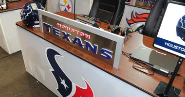 The Houston Texans Draft Table prior to the second and third rounds of the 2018 NFL Draft on April 27, 2018, at AT&T Stadium in Arlington, TX.