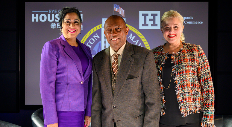 Sarah Frazier, Dr. Laura Murillo with Mayor Sylvester Turner