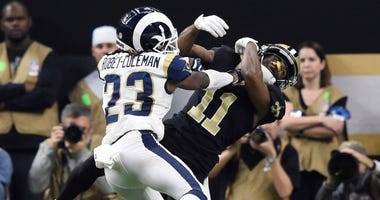 Nickell Robey-Coleman of the Los Angeles Rams possibly commits pass interference on Tommylee Lewis of the New Orleans Saints during the 2019 NFC Championship.