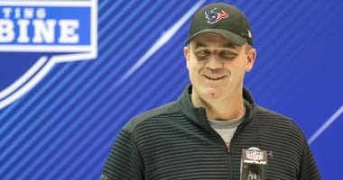 Houston Texans head coach Bill O'Brien speaks to the media during the 2018 NFL Combine at the Indianapolis Convention Center.