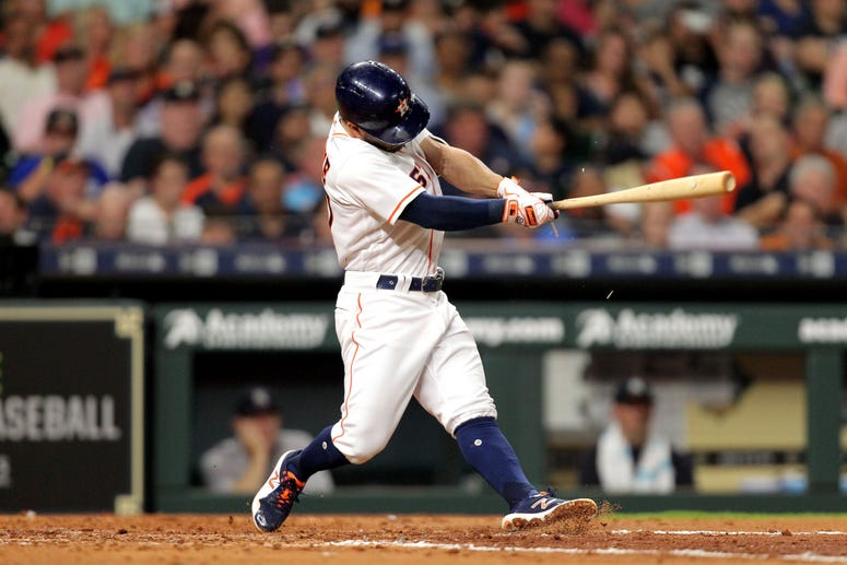 Jose Altuve swings vs. the Yankees