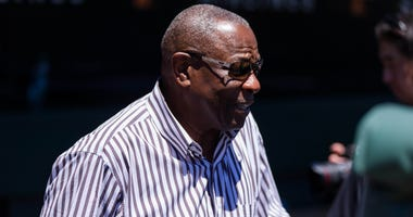 San Francisco Giants former manager Dusty Baker participates in a pregame tribute before the game against the San Diego Padres at AT&T Park.