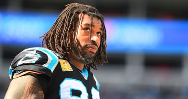 Carolina Panthers defensive end Julius Peppers (90) on the sidelines in the second quarter at Bank of America Stadium.
