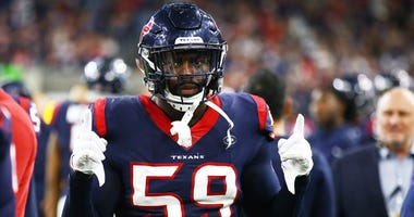 Houston Texans linebacker Whitney Mercilus (59) against the Indianapolis Colts in the AFC Wild Card playoff football game at NRG Stadium.