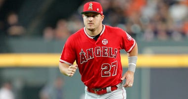 Los Angeles Angels center fielder Mike Trout (27) prior to the game against the Houston Astros at Minute Maid Park.