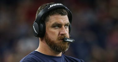 Houston Texans offensive coordinator Tim Kelly looks on during the game against the Detroit Lions at NRG Stadium.