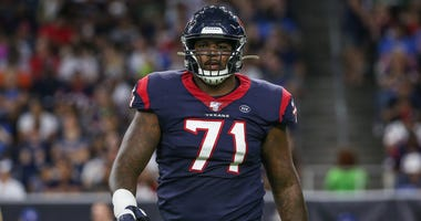 Houston Texans offensive tackle Tytus Howard (71) walks off the field during the game against the Detroit Lions at NRG Stadium.