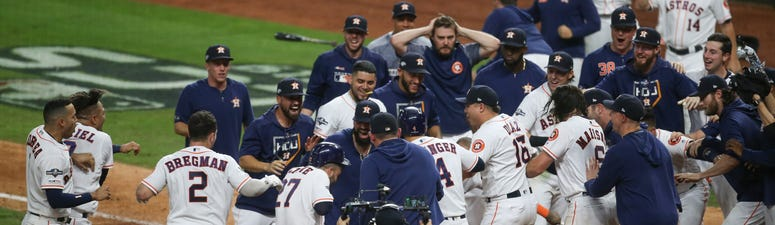 Houston Astros second baseman Jose Altuve (27) hit the game winning home run against the New York Yankees in game six of the 2019 ALCSS playoff baseball series at Minute Maid Park.