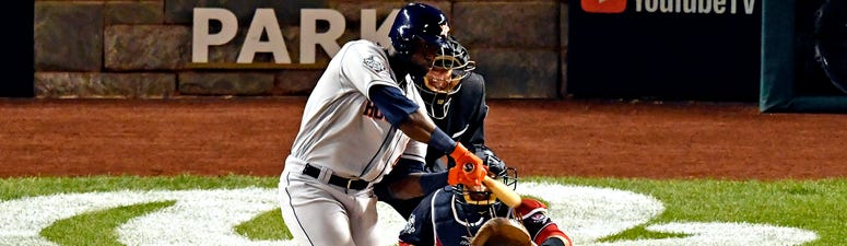 Houston Astros left fielder Yordan Alvarez (44) hits a single during the fourth inning against the Washington Nationals in game five of the 2019 World Series at Nationals Park.