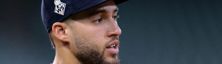 Houston Astros center fielder George Springer (4) prior to game six of the 2019 World Series against the Washington Nationals at Minute Maid Park.