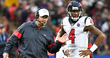 Houston Texans head coach Bill O'Brien talks with quarterback Deshaun Watson (4) during the second half of the game between the Jacksonville Jaguars and the Houston Texans during an NFL International Series game at Wembley Stadium.