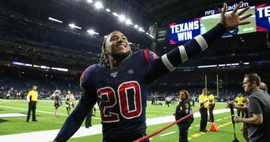 Houston Texans strong safety Justin Reid (20) walks off the field after the game against the New England Patriots at NRG Stadium.