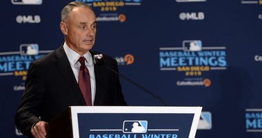 MLB commissioner Rob Manfred speaks to the media before announcing the All-MLB team during the MLB Winter Meetings at Manchester Grand Hyatt.