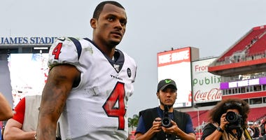 Houston Texans quarterback Deshaun Watson (4) exits the field after winning the game against the Tampa Bay Buccaneers at Raymond James Stadium.