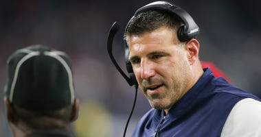 Tennessee Titans head coach Mike Vrabel argues with officials while the Titans play the Houston Texans in the fourth quarter at NRG Stadium.