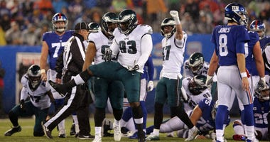 Philadelphia Eagles defensive tackle Tim Jernigan (93) celebrates during the third quarter against the New York Giants at MetLife Stadium.