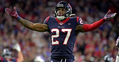 Houston Texans free safety Mike Adams (27) celebrates during the fourth quarter against the Buffalo Bills in the AFC Wild Card NFL Playoff game at NRG Stadium.