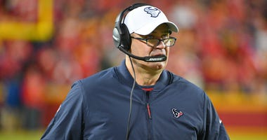 Houston Texans head coach Bill O'Brien watches play on the sidelines during the AFC Divisional Round playoff football game against the Kansas City Chiefs at Arrowhead Stadium.