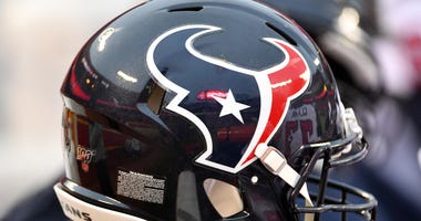 A general view of a Houston Texans helmet during the AFC Divisional Round playoff football game against the Kansas City Chiefs at Arrowhead Stadium.
