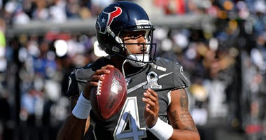 AFC quarterback Deshaun Watson of the Houston Texans (4) warms up before a game against the NFC in the 2020 NFL Pro Bowl at Camping World Stadium.