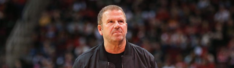 Houston Rockets owner Tilman Fertitta walks on the court during the game against the New Orleans Pelicans at Toyota Center.