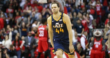 Utah Jazz forward Bojan Bogdanovic (44) reacts after making a game-winning basket with time expiring against the Houston Rockets at Toyota Center.