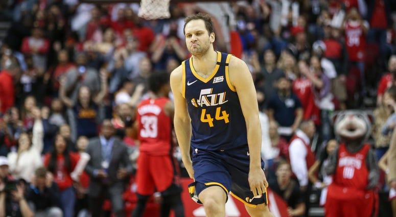 Utah Jazz forward Bojan Bogdanovic (44) reacts after making a game-winning basket with time expiring against the Houston Rockets at Toyota Center.