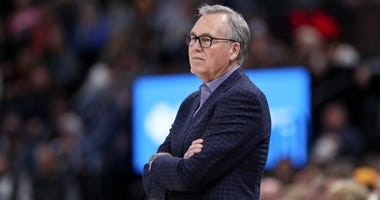 Houston Rockets head coach Mike D'Antoni watches his team play against the Utah Jazz at Vivint Smart Home Arena.
